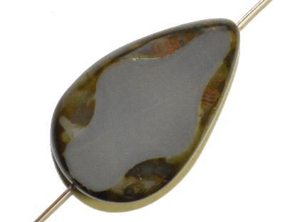 Best.Nr.:67835 Glasperle / Table Cut Beads, geschliffen Tropfenform, dunkelgrau mit picasso finish, hergestellt in Gablonz / Böhmen