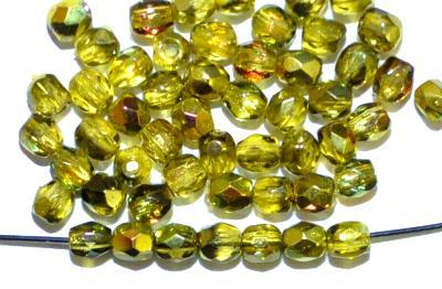 Best.Nr.:28098 facettierte Glasperlen  mit Wachsüberzug oliv und AB, hergestellt in Gablonz / Tschechien
