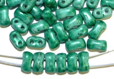 Best.Nr.:79007 Glasperlen mit zwei Löchern,  Twin Hole Beads smaragdgrün,  hergestellt in Gablonz / Tschechien