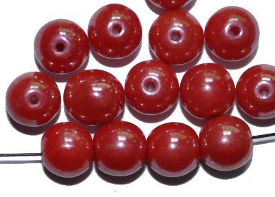 Best.Nr.:63832 Glasperlen rund, rot opak mit lüster, in den 1940/50 Jahren in Gablonz/Böhmen hergestellt, (nur wenige auf Lager)