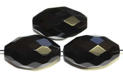 Best.Nr.:26092 Glasperlen geschliffen Oliven schwarz, hergestellt in Gablonz / Tschechien