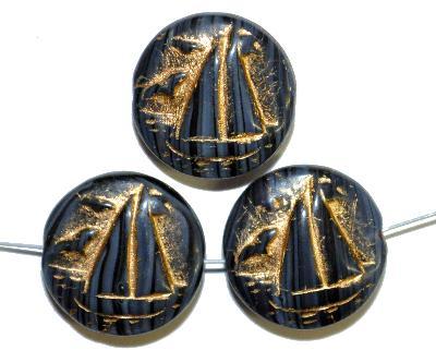 Best.Nr.:59242 Vintagestyle Glasperlen  schwarz grau opak mit Goldauflage,  nach alten Vorlagen aus den 1940/50 Jahren neu gefertigt in Gablonz / Tschechien