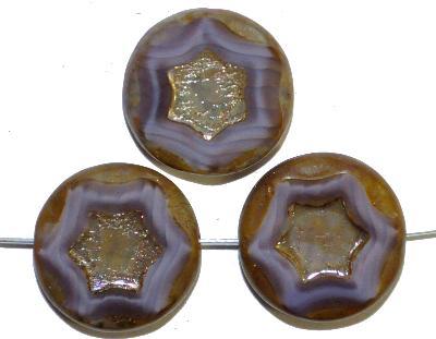Best.Nr.:671382 Glasperlen / Table Cut Beads,  mit eingeprägtem Stern,  Perlettglas violett,  geschliffen mit burning silver picasso finish