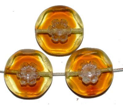 Best.Nr.:67467 Glasperlen / Table Cut Beads gelb braun transp., rand mattiert mit lüster finish