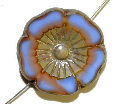 Best.Nr.:671404 Glasperlen / Table Cut Beads  kornblumenblau rosa,  Blüten geschliffen mit burning silver picasso finish  hergestellt in Gablonz / Tschechien