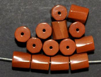 Best.Nr.:75058 vintage Keramikperlen, poliert um 1960 in Gablonz/Böhmen hergestellt Walze getwistet, braun