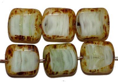 Best.Nr.:671337 Glasperlen / Table Cut Beads, grün weiß meliert, geschliffen mit picasso finish