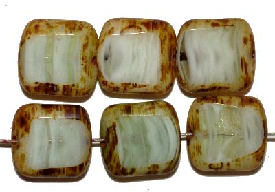 Best.Nr.:65073 Glasperlen / Table Cut Beads geschliffen, grün weiß marmoriert mit picasso finish, hergestellt in Gablonz Tschechien