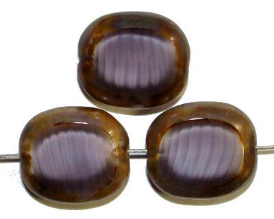 Best.Nr.:671381 Glasperlen / Table Cut Beads  Olive geschliffen Perlettglas violett  mit Travertin-Veredelung, hergestellt in Gablonz / Tschechien