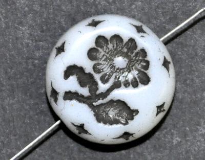 Best.Nr.:59127 vintage style Glasperlen, alabaster weiß mit eingeprägter Blüte ,  nach alten Vorlagen aus den 1930 Jahren in Gablonz/Böhmen neu gefertigt,