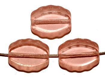 Best.Nr.:671310 Glasperlen / Table Cut Beads geschliffen, apricot transp., Rand mattiert (frostet), nach alten Vorlagen aus den 1930/40 Jahren neu gefertigt