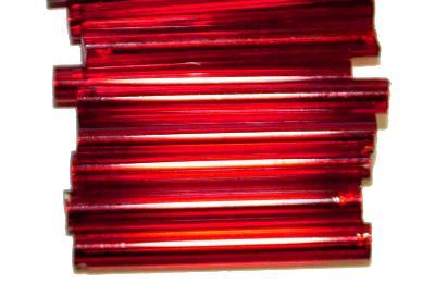 Best.Nr.:21169  Glasperlen / Stiftperlen  von Preciosa Ornella Tschechien hergestellt,  rot mit Silbereinzug