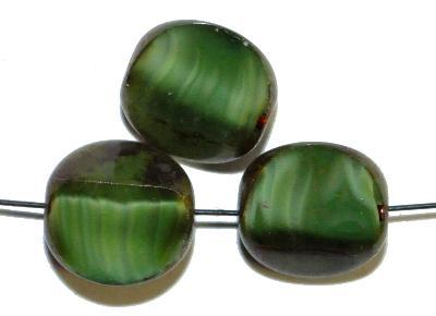Best.Nr.:67060 Glasperlen / Table Cut Beads,  Perlettglas grün,  geschliffen mit picasso finish,  hergestellt in Gablonz / Tschechien