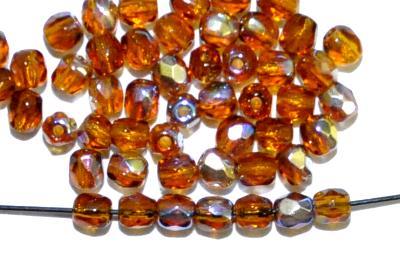 Best.Nr.:28103 facettierte Glasperlen  topas mit AB, hergestellt in Gablonz / Tschechien