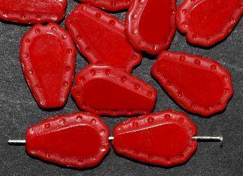 Best.Nr.:671252 Glasperlen / Table Cut Beads geschliffen, rot opak, Rand mattiert (frostet), nach alten Vorlagen aus den 1930/40 Jahren neu gefertigt