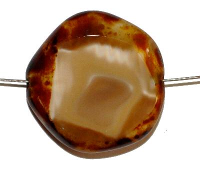 Best.Nr.:671355 Glasperlen geschliffen / Table Cut Beads, Hergestellt in Gablonz / Böhmen, Perlettglas camel, mit picasso finish