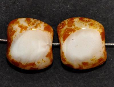 Best.Nr.:671369 Glasperlen geschliffen / Table Cut Beads, Perlettglas naturweiß, mit picasso finish, Hergestellt in Gablonz / Böhmen