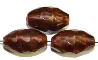 Best.Nr.:26444 Glasperlen geschliffen Oliven Perlettglas braun, hergestellt in Gablonz / Tschechien