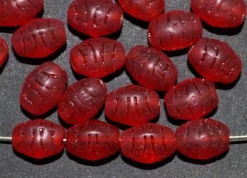 Best.Nr.:63079 Glasperlen in den 1920/30 Jahren in Gablonz/Böhmen hergestellt, geprägt, rot transparent und mattiert