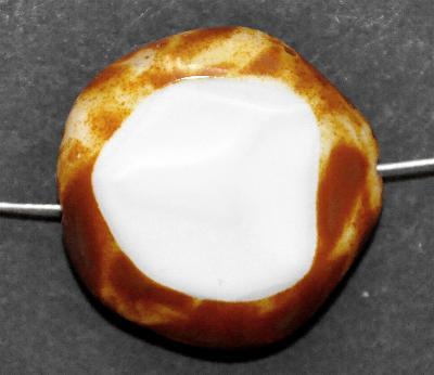 Best.Nr.:671363 Glasperlen geschliffen / Table Cut Beads, Hergestellt in Gablonz / Böhmen, milky with, mit picasso finish