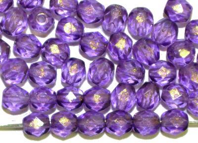 Best.Nr.:28417 facettierte Glasperlen mit Wachsüberzug,  french violett mit gold finish,  hergestellt in Gablonz / Böhmen