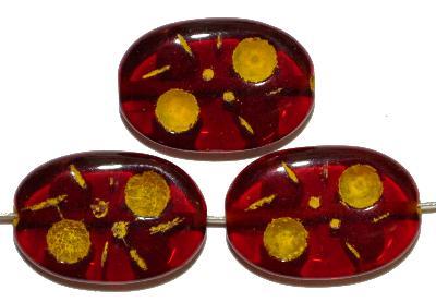 Best.Nr.:s-0071 Glasperlen hergestellt in Gablonz / Tschechien, Olive flach, rot transp. mit Farbauflage (eingebrannt)