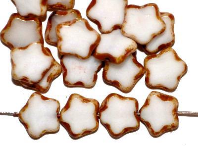 Best.Nr.:671239 Glasperlen / Table Cut Beads geschliffen Sterne, weiß opak mit picasso finish, hergestellt in Gablonz / Tschechien