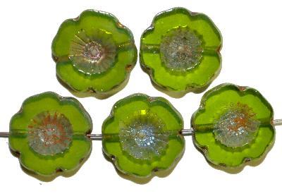 Best.Nr.:671334 Glasperlen / Table Cut Beads  opalin grün,  Blüten geschliffen mit burning silver picasso finish, hergestellt in Gablonz / Böhmen