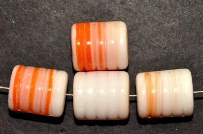 Best.Nr.:48062 Glasperlen Walze weiß orange, hergestellt in Gablonz / Tschechien,