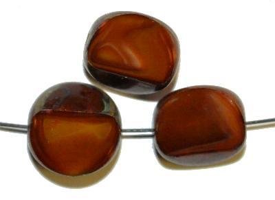 Best.Nr.:671019 Glasperlen / Table Cut Beads,  Perlettglas ambarbraun,  geschliffen mit picasso finish,  hergestellt in Gablonz / Tschechien