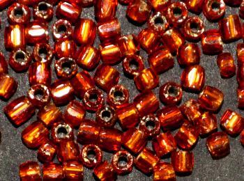 Best.Nr.:18033 3-Cutbeads von Ornella Preciosa Tschechien orange mit Silbereinzug
