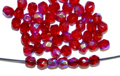 Best.Nr.:28130 facettierte Glasperlen  granatrot transp. mit AB, hergestellt in Gablonz / Tschechien