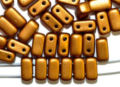 Best.Nr.:79010  Glasperlen mit zwei Löchern,  Twin Hole Beads metallic messing,  hergestellt in Gablonz / Tschechien