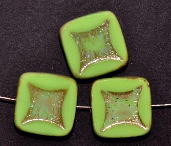 Best.Nr.:671269 Glasperlen / Table Cut Beads grün, geschliffen mit picasso finish