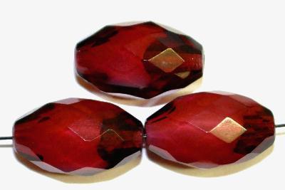 Best.Nr.:26019 Glasperlen geschliffen Oliven fuchsia, hergestellt in Gablonz / Tschechien