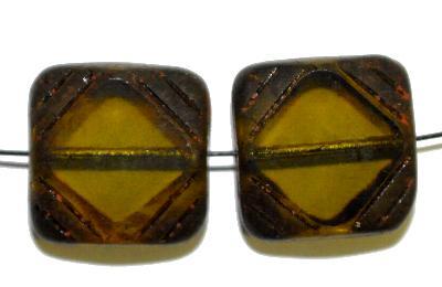 Best.Nr.:65052 Glasperlen geschliffen / Table Cut Beads geschliffen,  oliv transp. mit picasso finish, hergestellt in Gablonz / Tschechien
