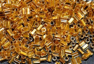 Best.Nr.:19110 Schnittperlen von Preciosa Ornella Tschechien,  kristall mit Goldeinzug,