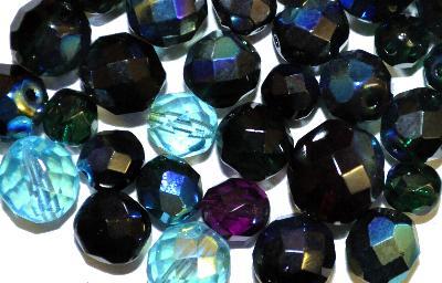 Best.Nr.:41056 facettierte Glasperlen  Mischung, hergestellt in Gablonz / Tschechien