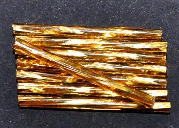 Best.Nr.:21140 Glasperlen / Stiftperlen getwistet, extra lang, von Preciosa Ornella Tschechien hergestellt, topas mit Silbereinzug