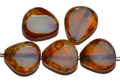 Best.Nr.:671325 Glasperlen / Table Cut Beads geschliffen, Opalglas silk mit picasso finish, hergestellt in Gablonz / Tschechien