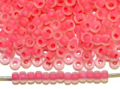 Best.Nr.:14059  Rocailles von Ornella Preciosa Tschechien,  kristall mattiert (frostet) mit rosa Farbeinzug