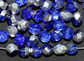Best.Nr.:28257 facettierte Glasperlen verschiedene aquatöne mit Silberbedampfung