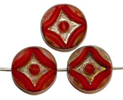 Best.Nr.:671007 Glasperlen / Table Cut Beads rot, geschliffen mit burning silver picasso finish