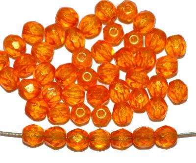 Best.Nr.:24154 facettierte Glasperlen mit Wachsüberzug orange, hergestellt in Gablonz / Böhmen,