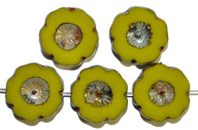 Best.Nr.:671418 Glasperlen / Table Cut Beads  oliv opak,  Blüten geschliffen mit burning silver picasso finish