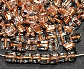 Best.Nr.:20017 Glasperlen / cut pipes von Preciosa Ornella Tschechien, kristall rauchig getönt mit Cupfereinzug,  Rechteckform abgeschrägten