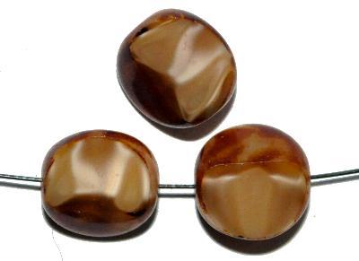 Best.Nr.:67491 Glasperlen / Table Cut Beads,  Perlettglas beigebraun,  geschliffen mit picasso finish,  hergestellt in Gablonz / Tschechien