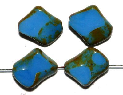Best.Nr.:67229 Glasperlen / Table Cut Beads, mittelblau opak, geschliffen mit picasso finish