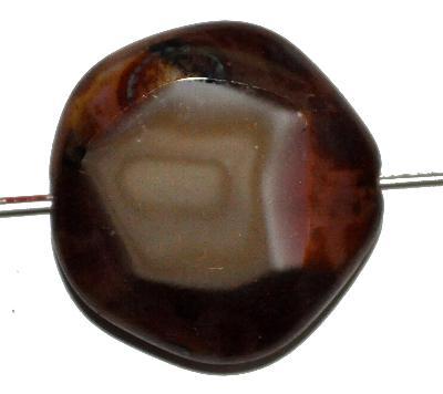 Best.Nr.:671351 Glasperlen geschliffen / Table Cut Beads, Hergestellt in Gablonz / Böhmen, Perlettglas braun mit fuchsia, mit picasso finish