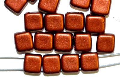 Best.Nr.:79009 Glasperlen mit zwei Löchern,  Twin Hole Beads metallic kupfer,  hergestellt in Gablonz / Tschechien